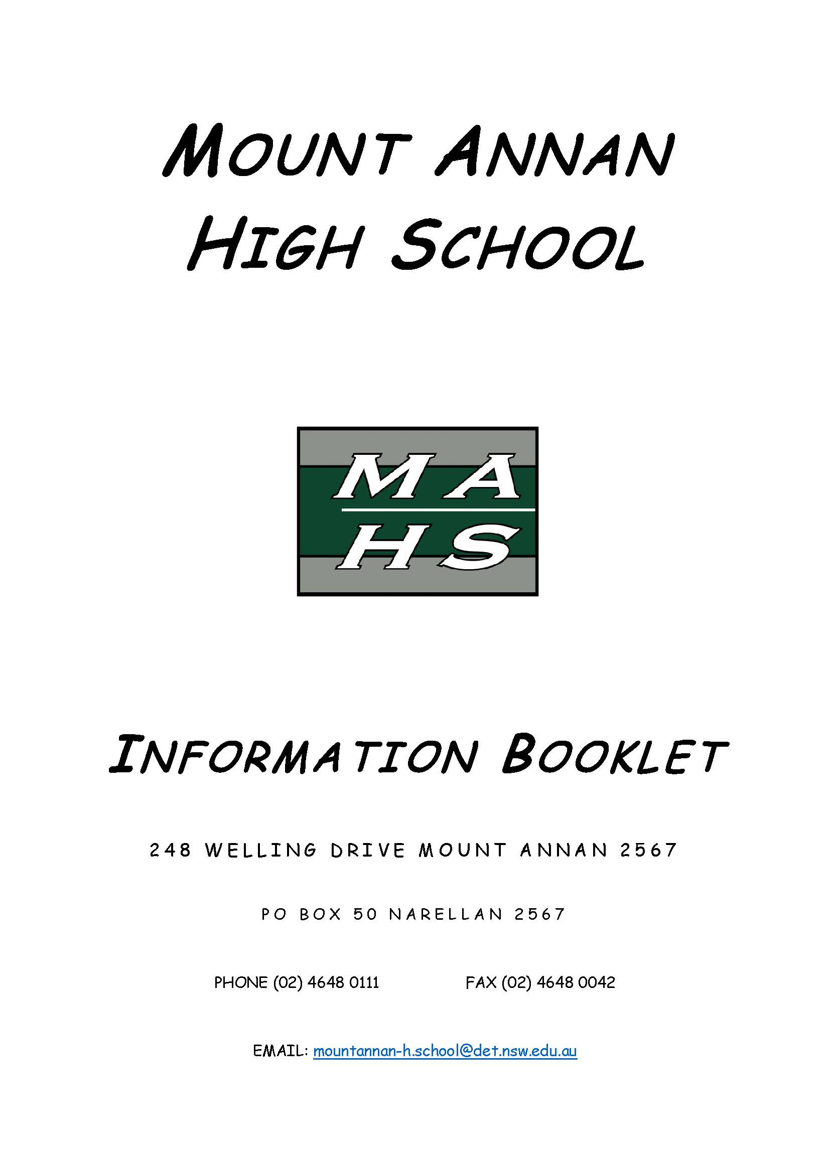 student information booklet cover